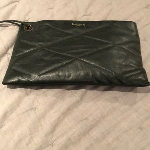 Green leather clutch never worn